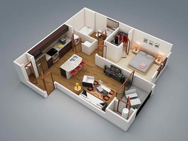 10 mẫu căn hộ một phòng ngủ cho người độc thân và vợ chồng trẻ 1