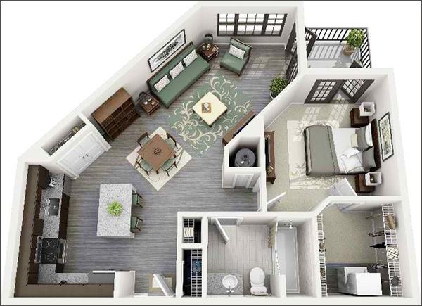 10 mẫu căn hộ một phòng ngủ cho người độc thân và vợ chồng trẻ 10