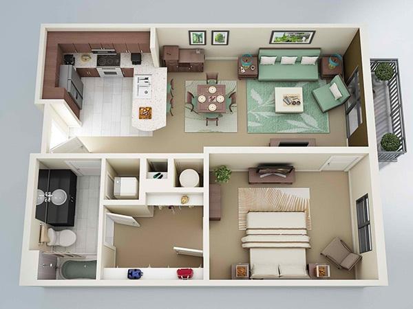 10 mẫu căn hộ một phòng ngủ cho người độc thân và vợ chồng trẻ 2