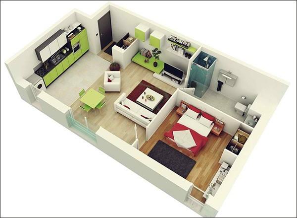 10 mẫu căn hộ một phòng ngủ cho người độc thân và vợ chồng trẻ 3