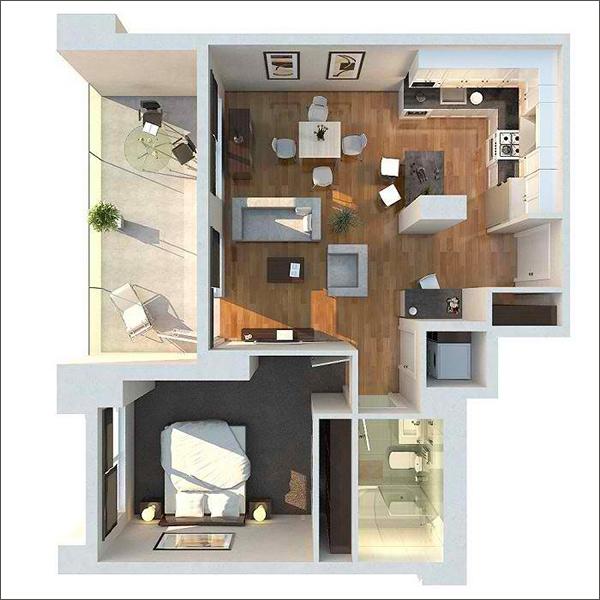 10 mẫu căn hộ một phòng ngủ cho người độc thân và vợ chồng trẻ 4