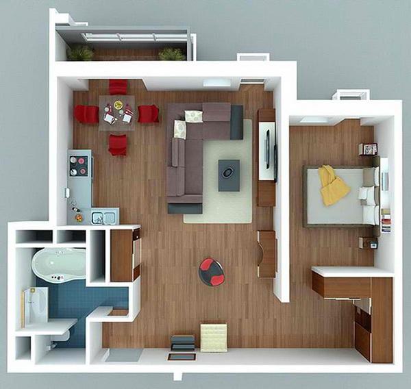 10 mẫu căn hộ một phòng ngủ cho người độc thân và vợ chồng trẻ 5