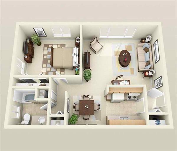 10 mẫu căn hộ một phòng ngủ cho người độc thân và vợ chồng trẻ 6