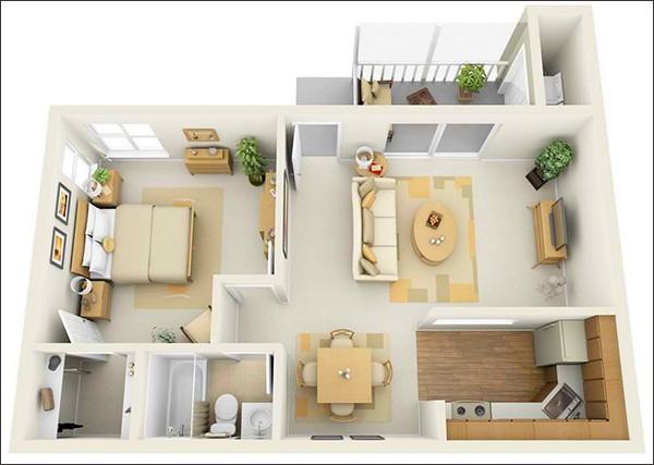 10 mẫu căn hộ một phòng ngủ cho người độc thân và vợ chồng trẻ 7
