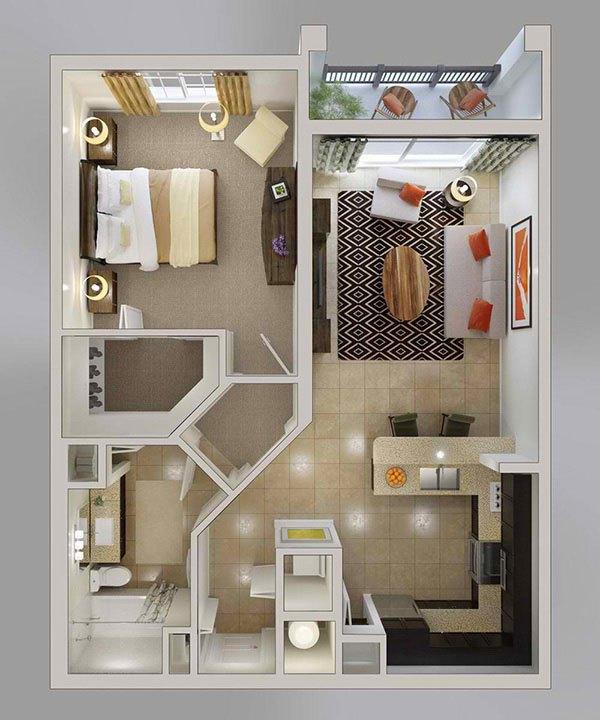 10 mẫu căn hộ một phòng ngủ cho người độc thân và vợ chồng trẻ 8
