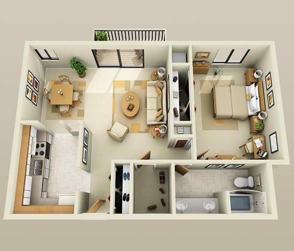 10 mẫu căn hộ một phòng ngủ cho người độc thân và vợ chồng trẻ 9