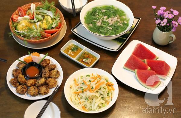 thực đơn bữa tối với các món từ rau xanh