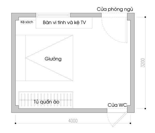 Tư vấn bố trí nội thất cho phòng ngủ 13m² vướng cột 4 góc 1