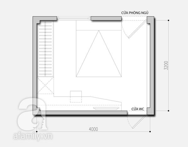 Tư vấn bố trí nội thất cho phòng ngủ 13m² vướng cột 4 góc 2
