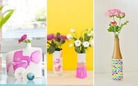 Đem bình cắm hoa cũ rồi dùng sơn móng tay vẽ vài đường đơn giản thế này là có ngay bình hoa mới thật đẹp