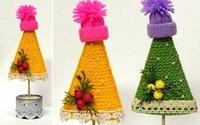 Tự làm cây thông Noel mini trang trí thật đẹp