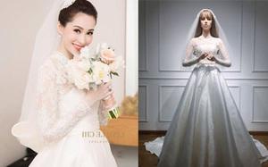 """Tương xứng với """"thần tiên tỷ tỷ"""", váy cưới của Hoa hậu Đặng Thu Thảo đính cả ngàn viên pha lê"""