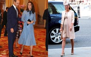 Bầu bí là thế nhưng Công nương Kate vẫn khư khư thói quen đi giày cao gót