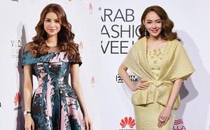 """Phạm Hương và Minh Hằng đẹp """"bất phân thắng bại"""" trên thảm đỏ Arab Fashion Week"""