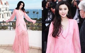 """Phạm Băng Băng tự dìm phong cách với váy hồng quá """"bánh bèo"""" trên thảm đỏ Cannes ngày thứ 7"""