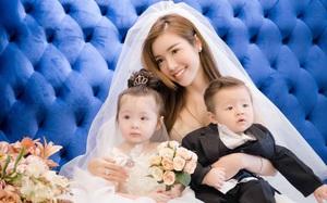 """2 con Elly Trần đáng yêu """"chảy tim"""" trong bộ ảnh váy cưới chụp cùng mẹ"""