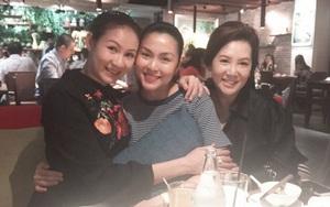 Sát ngày sinh nở, Tăng Thanh Hà vẫn cố che bụng bầu khi đi ăn cùng bạn bè
