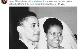 """""""Lấy em là điều đúng đắn nhất trong cuộc đời anh"""" lời chia sẻ lịm tim Obama dành cho vợ sau 25 năm kết hôn"""