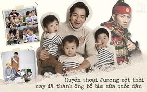 """Song Il Gook: Từ """"huyền thoại Jumong"""" đến ông bố siêu nhân một tay cân 3 thiên thần khiến chị em mê mẩn"""