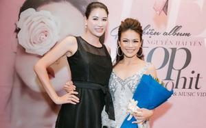 Trang Trần diện váy đen đơn giản đến mừng bạn thân Hải Yến Idol