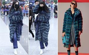 Chỉ ra sân bay, Địch Lệ Nhiệt Ba cũng mạnh tay sắm hẳn áo lông gần 400 triệu đồng
