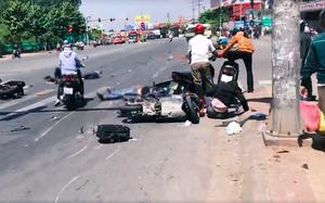 Bình Dương: Xe khách vượt đèn đỏ tông hàng loạt xe máy, ít nhất 5 người bị thương nặng
