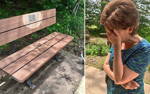 Vào công viên, đọc tấm bảng gắn trên chiếc ghế hai vợ chồng hay ngồi, người vợ đã bật khóc