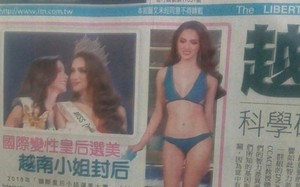 Hình ảnh diện bikini nóng bỏng của Hương Giang idol xuất hiện trên báo Đài Loan