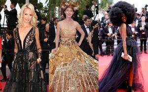 """Gần ngày bế mạc nhưng thảm đỏ Cannes vẫn tiếp tục những màn khoe ngực, chơi trội bằng váy áo cồng kềnh, tóc """"búi rơm"""""""