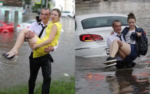 """Nga: """"Soái ca sơ mi trắng"""" lội nước giải cứu chị em mắc kẹt trong xe được tôn vinh như người hùng"""