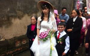 Cô dâu xinh đẹp sánh vai cùng chú rể tí hon trong ngày cưới tại Hà Nam