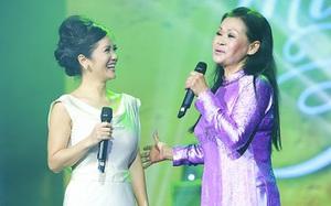 Hồng Nhung diện đồ như cô dâu đứng cùng sân khấu với Khánh Ly