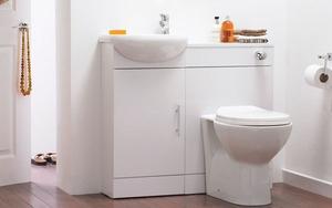 Mẫu thiết kế tích hợp bồn rửa, tủ để đồ và toilet - giải pháp hoàn hảo cho phòng tắm chật
