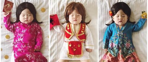 """Tranh thủ con ngủ trưa, bà mẹ """"phù thủy hóa trang"""" cho con gái chu du khắp thế giới"""
