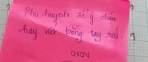 Không cho học sinh viết tay trái, cô giáo đánh mắng và viết giấy gửi về cho bố mẹ