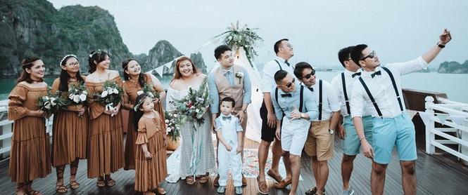 Đám cưới du thuyền đẹp mơ màng giữa sóng nước Hạ Long của cô dâu Philippines không ngại chủ động tìm kiếm tình yêu