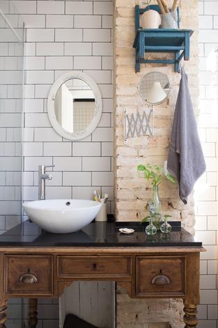 Phòng tắm mang hơi hướng vintage