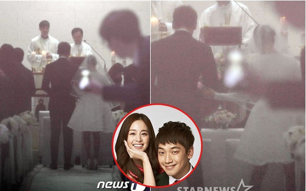 """Cô dâu Kim Tae Hee diện váy ngắn cực """"độc"""", sánh đôi bên chú rể Bi Rain trên lễ đường"""