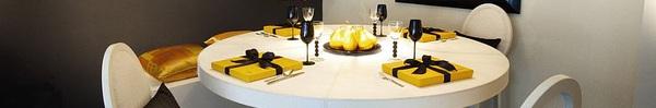 Gợi ý trang trí phòng ăn với gam màu vàng - xám đẹp ấn tượng