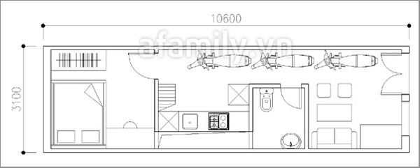 Thiết kế hợp lý cho nhà 33 mét vuông