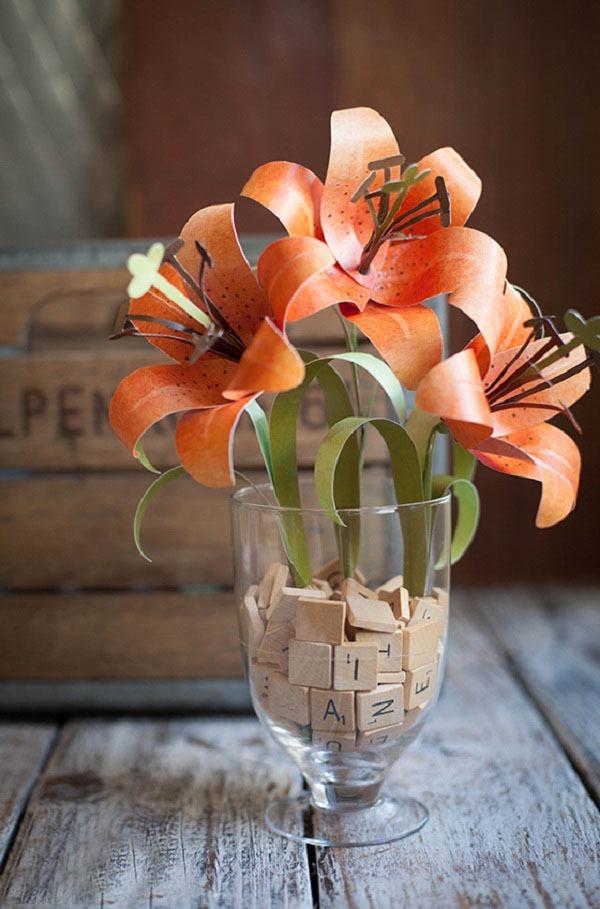 Làm hoa ly vàng bằng giấy đẹp như hoa thật 10