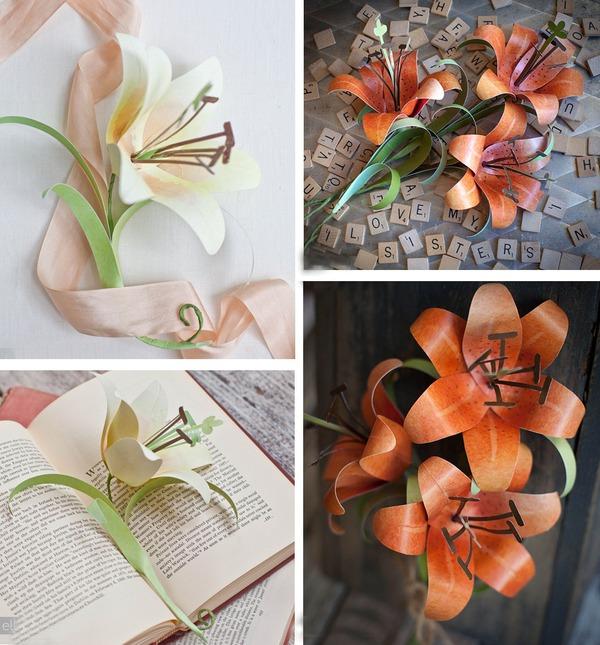 Làm hoa ly vàng bằng giấy đẹp như hoa thật 8
