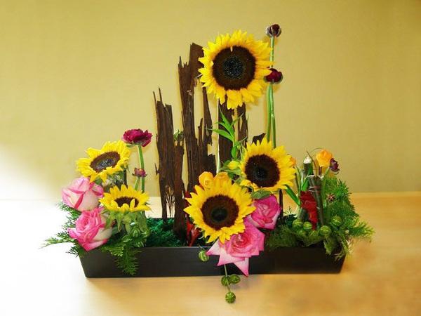 Cắm hoa hướng dương giản dị, tự nhiên 8