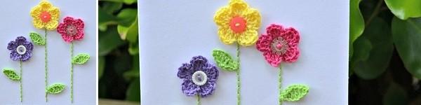 Hướng dẫn móc hoa gắn thiệp thật xinh xắn