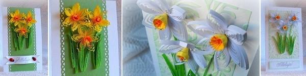 Tự làm thiệp nổi hoa thủy tiên quilling tuyệt đẹp