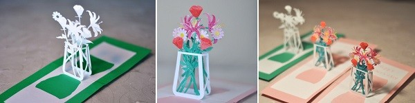 Làm thiệp 3D bình hoa tươi khoe sắc