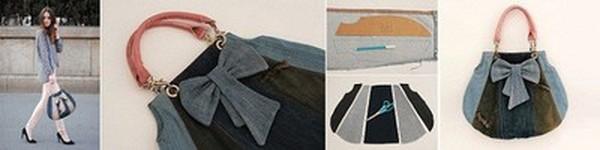 Túi xách denim thời trang tái chế từ đồ jean cũ