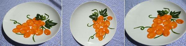 4 bước đơn giản tỉa cà rốt hình chùm nho cực đáng yêu