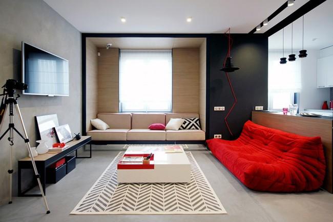 Những mẫu phòng khách đẹp phù hợp với các căn hộ 50m² - Ảnh 12.