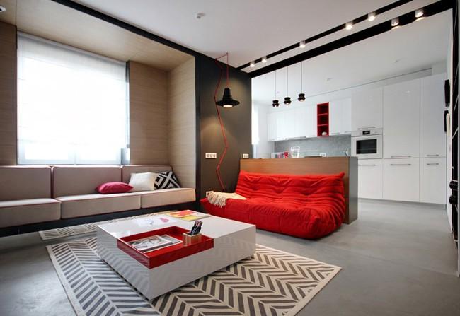 Những mẫu phòng khách đẹp phù hợp với các căn hộ 50m² - Ảnh 13.